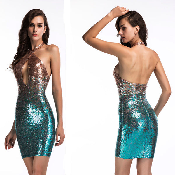 Women's Assorted Hollow Out Bodycon Halter Dress w/ Sequined Design