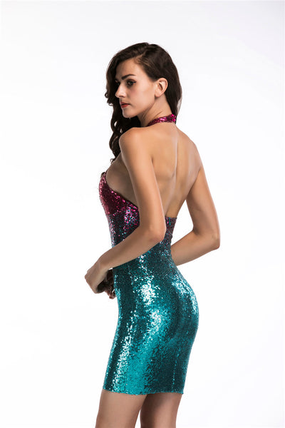Women's Assorted Hollow Out Bodycon Halter Dress w/ Sequined Design - Erbana 88
