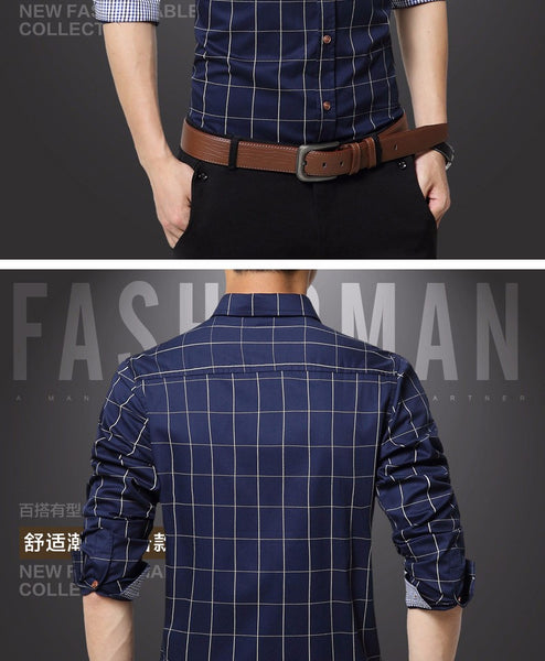 Men's Slim Fit Long Sleeve Button Down Plaid Shirt - Erbana 88