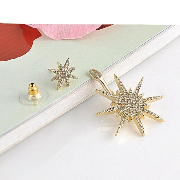 Women's Crystal Rhinestone Star Design White Gold Earring - Erbana 88