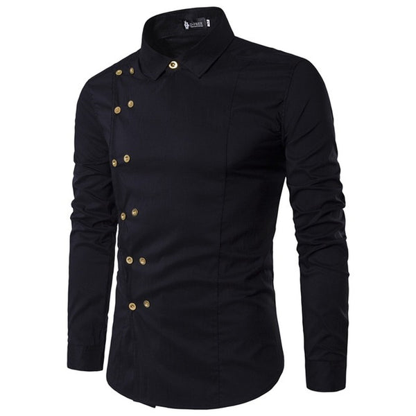 Men's Oblique Double Breasted Long Sleeve Shirt w/ Dual Button Design - Erbana 88