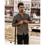 Men's European Style Long Sleeve Slim Fit Shirt w/ Mandarin Collar & Pocket