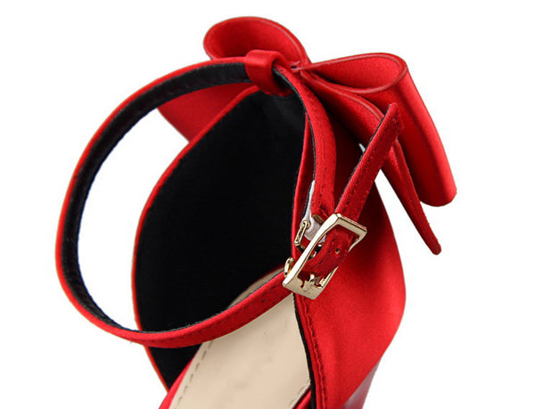 Women's Exquisite Pointed Toe Satin High Heels w/ Bow Finish