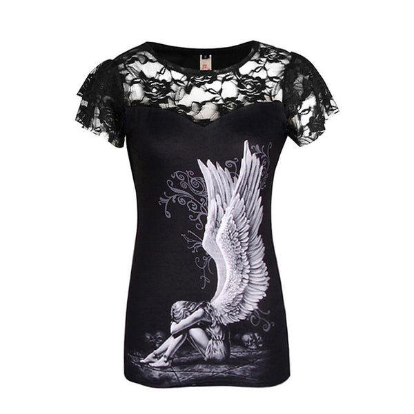 Women's Short Sleeve Slim Fit Gothic Skull Design Tee w/ Lace Finish - Erbana 88