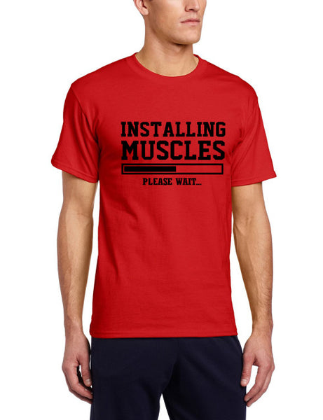 Men's Short Sleeve Humorous 'Installing Muscles... Please Wait' Tee - Erbana 88