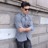 Men's Urban Style Long Sleeve Loose Fit Plaid Shirt w/ Pocket - Erbana 88