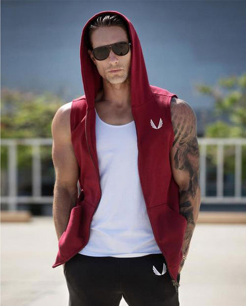 Men's Designer Sleeveless Zippered Down Hoodie w/ Pockets - Erbana 88