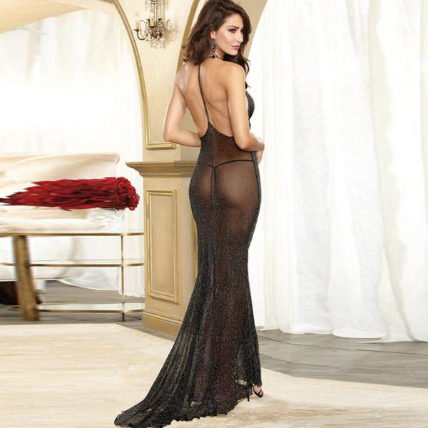 Women's Elegantly Flowing Lace Dress w/ G-String - Erbana 88