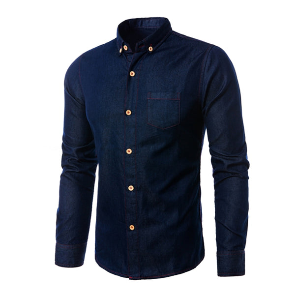 Men's Urban Style Long Sleeve Slim Fit Denim Shirt w/ Pocket - Erbana 88