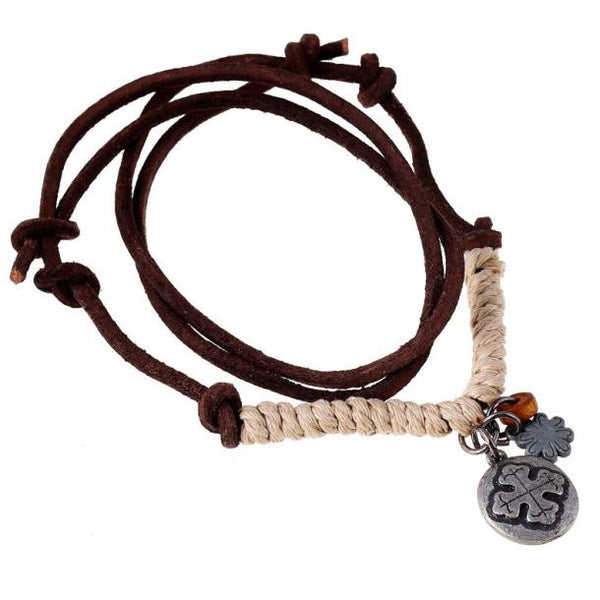 Vintage Genuine Leather Men's Necklace w/ Leather Cord - Erbana 88