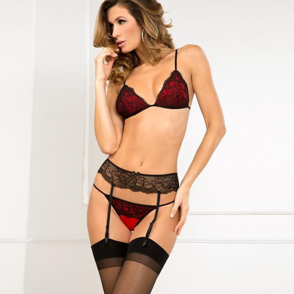 Women's Black on Red Lace Bra, T-Back & Garter - Erbana 88