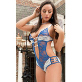 Women's One Piece Nylon & Lace Lingerie w/ Bow & Heart Design