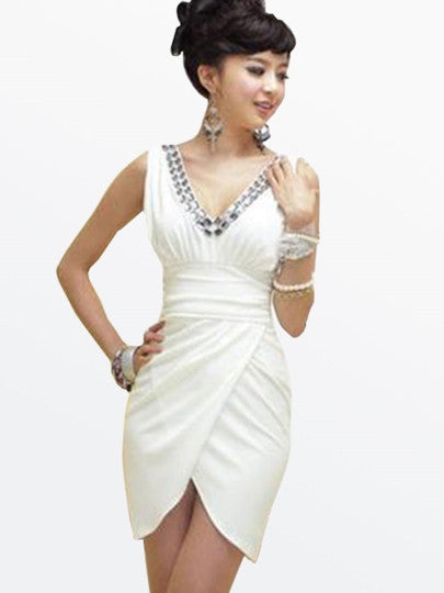 Women's White Elegant V-Neck Sleeveless Sheath Beading Dress - Erbana 88