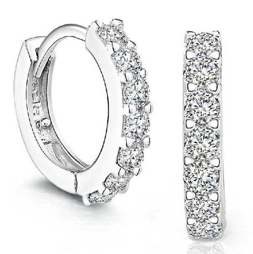 Sterling Silver Rhinestones Hoop Diamond Stud Earrings for Women - Erbana 88