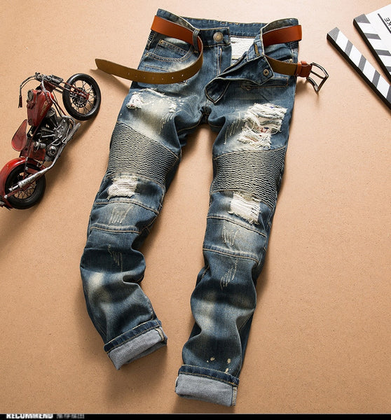 Men's Urban Style Distressed Ripped Motorcycle Mid Wash Out Jeans - Erbana 88