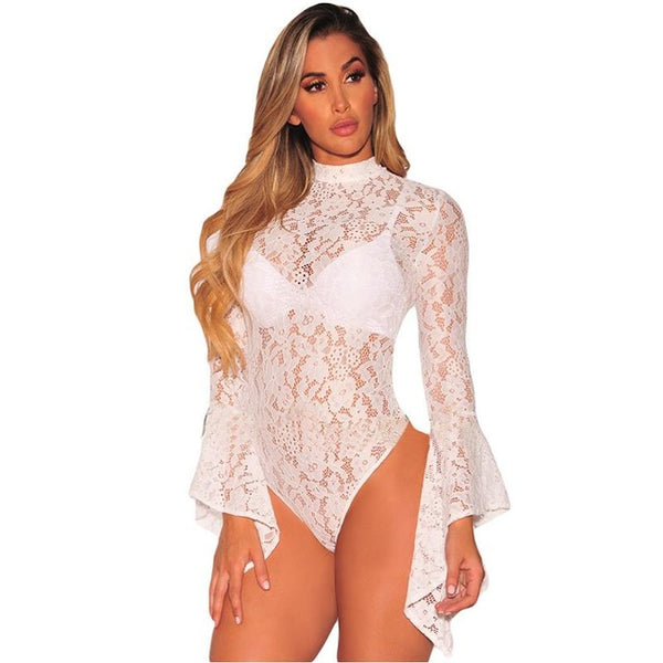 Women's Vintage Style High Neck Lace Halter Bodysuit w/ Flared Sleeve - Erbana 88