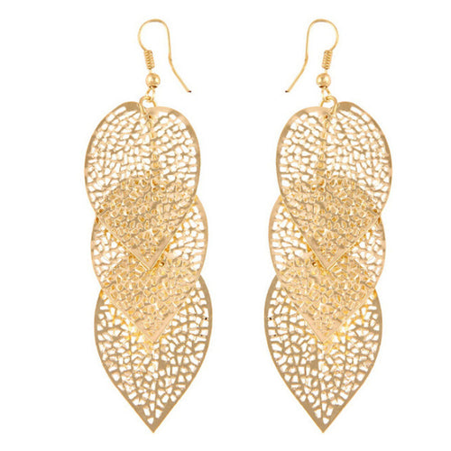 Women's Chic Gold or Silver Leaf Eardrop Earrings - Erbana 88