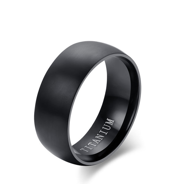 Men's Basic Black Titanium Ring