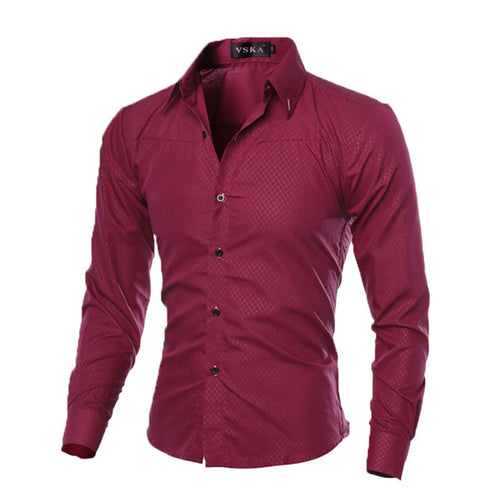 Men's Luxury Slim Fit Long Sleeve Dress Shirt w/ Argyle Design - Erbana 88