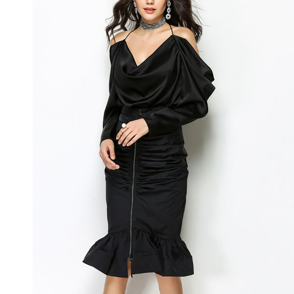 Women's Luxurious Off Shoulder V-Neck Ruffled Blouse - Erbana 88