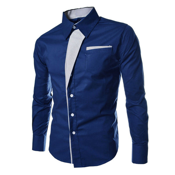 Men's Long Sleeve Slim Fit Formal Shirt w/ Adjustable Collar