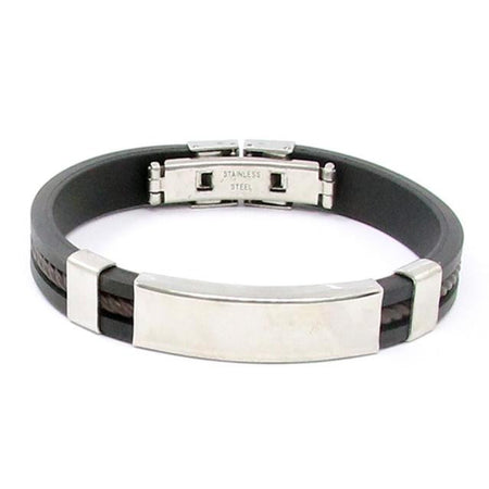 Men's Silver Cross Stainless Steel Black Rubber Wristband