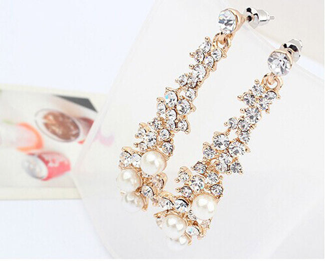 Women Rhinestone Long Drop Earrings - Erbana 88