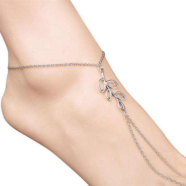 Women Beach Barefoot Sandal Foot Tribal Simple Leaves Anklet Chain - Erbana 88