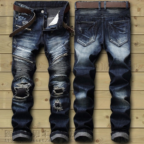 Men's Punk Style Stretchy Ripped Semi Washed Out Biker Jeans w/ Leg Zip - Erbana 88
