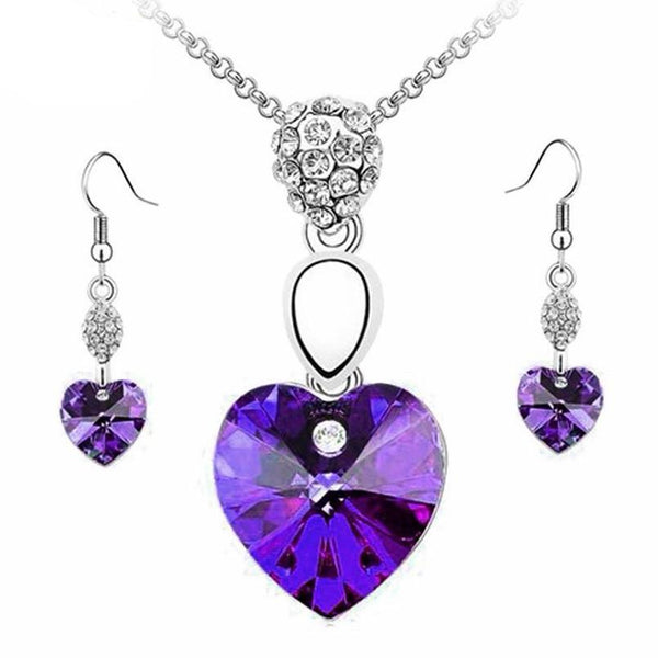 Women's Crystal Heart Shape Rhinestone Earring & Necklace Set - Erbana 88