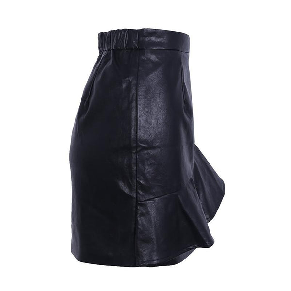 Women's Chic High Waist PU Leather Mini Skirt w/ Ruffles - Erbana 88