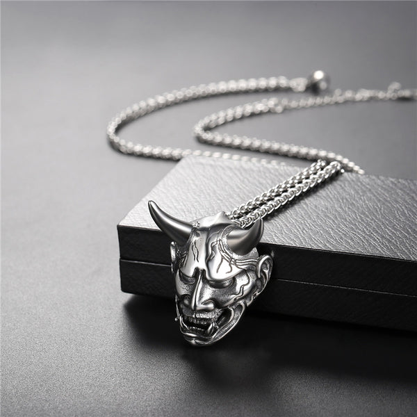 Men's Stainless Steel Gothic Horned Necklace