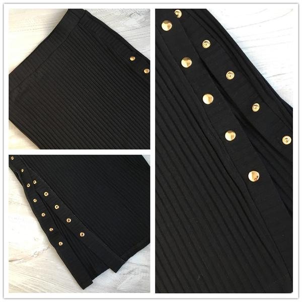 Women's High Waist Elegant Pencil Skirt w/ Rivet Stud & Split Design - Erbana 88