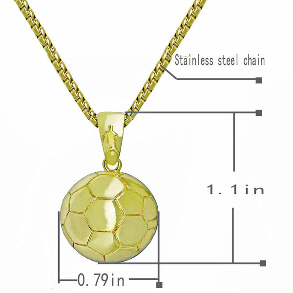 Men's Stainless Steel Soccer Pendant & Necklace - Erbana 88