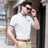 Men's High Quality Short Sleeve Shirt w/ Leaf Print Design - Erbana 88