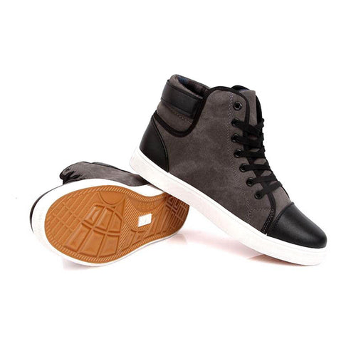 Men's Ankle Length Urban Style Canvas Shoes w/ Patchwork and Buckle Finish - Erbana 88