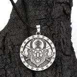 Men's Vintage Stainless Steel Viking Helmet & Axe Pendant w/ Rope Necklace - Erbana 88