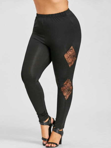 Women's Casual Lace Pencil Leggings w/ Spider Web Design - Erbana 88