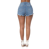 Women's Laid Back Casual Denim Vintage Shorts w/ Ripped Design