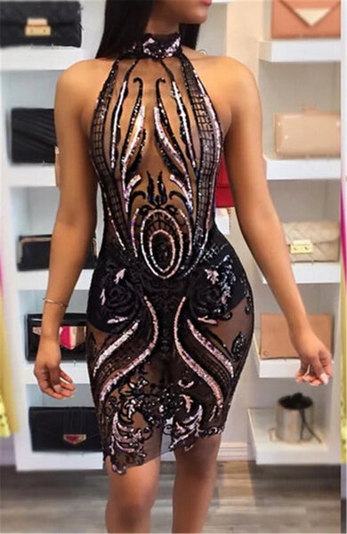 Women's Slim Fit Hollow Out Black Elastic Mesh Bodycon Dress w/ Sequin Design - Erbana 88