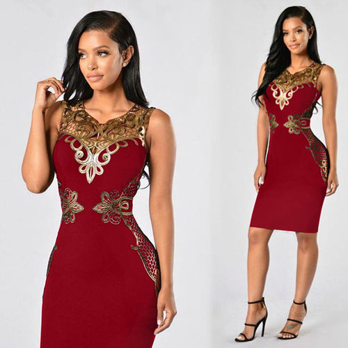 Women's Elegant Pencil Style Bodycon Dress w/ Golden Laced Design - Erbana 88