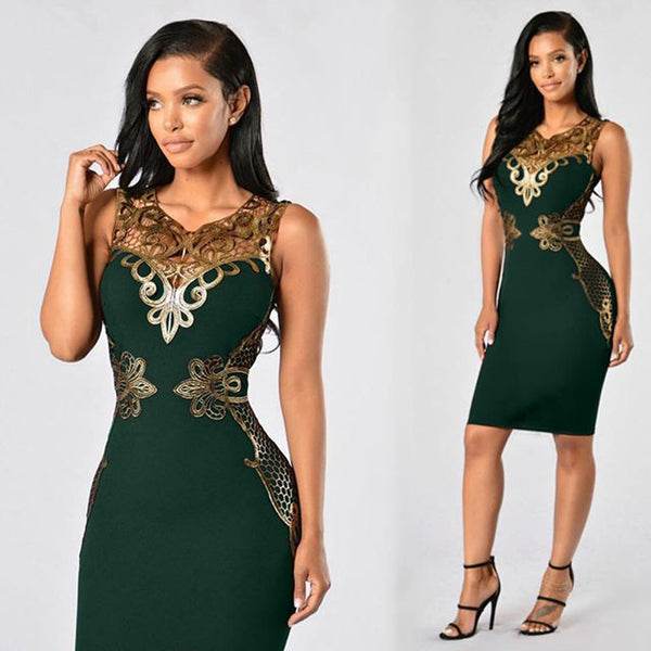 Women's Elegant Pencil Style Bodycon Dress w/ Golden Laced Design