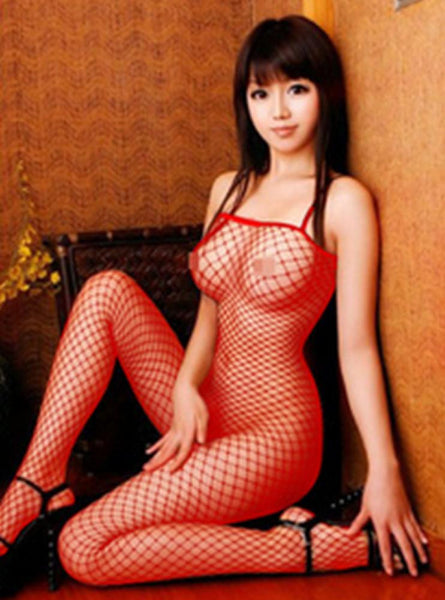 Women's Full Body Fishnet Lingerie w/ Open Crotch Design - Erbana 88
