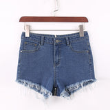 Women's High Waist Short Tassel Jeans w/ Back Zipper - Erbana 88