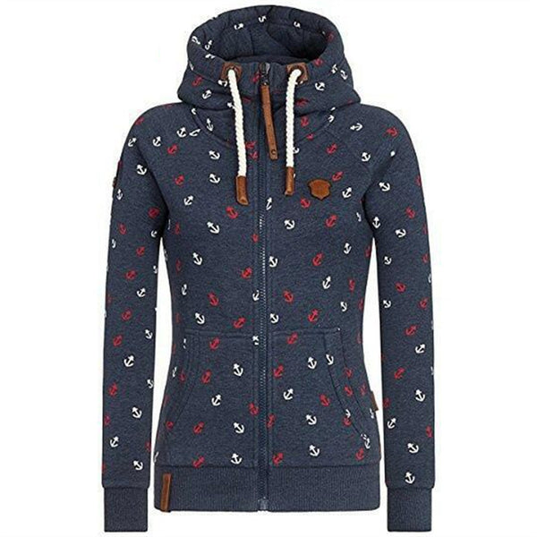 Woman's Fashion Long Sleeve Pocker Zipper Print Casual Slim Hoodie Sweatshirt - Erbana 88