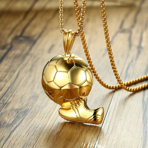 Men's Stainless Steel Necklace w/ Gold Soccer Ball & Shoe Pendant - Erbana 88