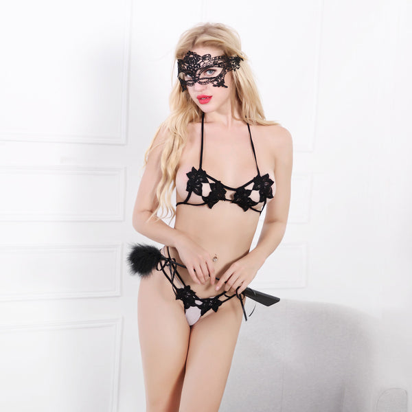 Women's Sheer Lace Gothic Design Role Playing Bra & G-String Set