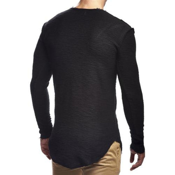 Men's Woven Long Sleeve Solid Tee w/ Root Stitching Design - Erbana 88