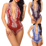 Women's Lace Bodysuit w/ Deep V  Lingerie One Piece