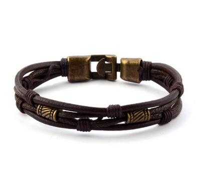 Men's Punk Rope Chain Leather Bracelet - Erbana 88